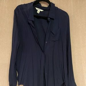 Long sleeve blue button up shirt